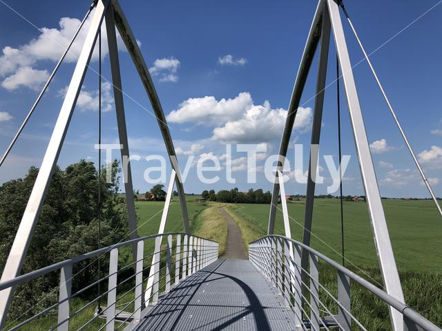 Bridge over a road near Wommels in Friesland, The Netherlands