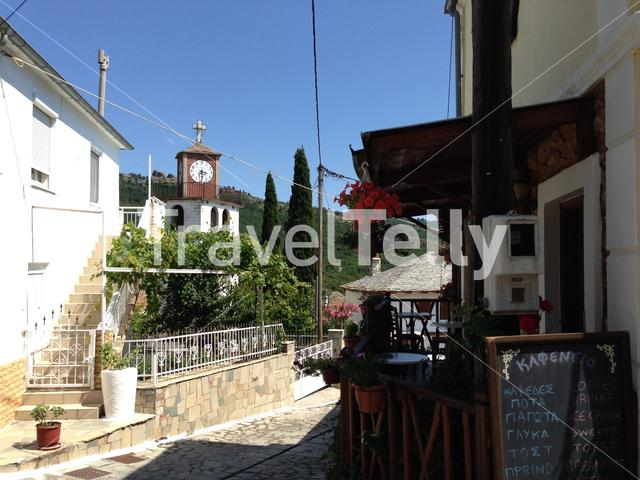 Historical street in the village of Theologos in Thassos Greece