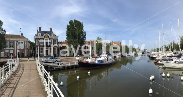 Panorama from the north harbor canal in Harlingen, Friesland The Netherlands