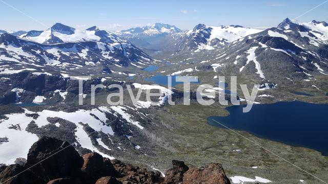 Lakes and snowy mountains in Jotunheimen National Park Norway
