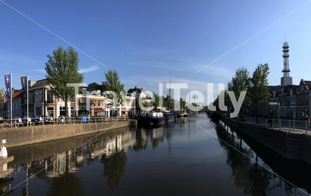 Panorama from a canal in Leeuwarden, Friesland The Netherlands