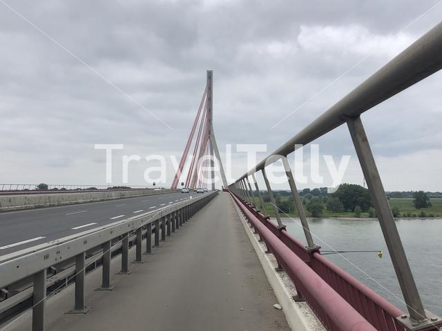 Bridge over the river Rhein around Wesel in Germany