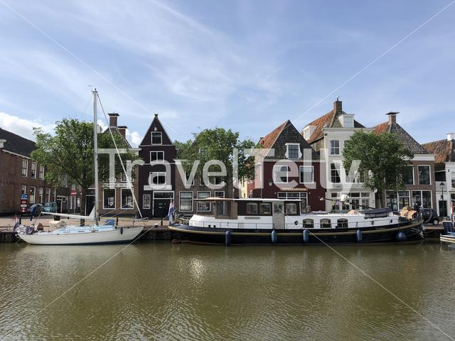 The north harbor canal in Harlingen, Friesland The Netherlands