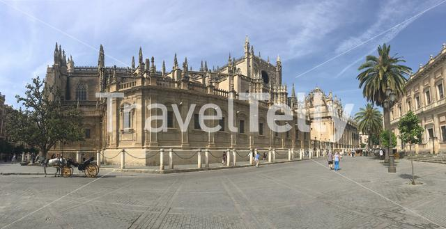 Panorama from the Cathedral of Saint Mary of the See better known as Seville Cathedral, is a Roman Catholic cathedral in Seville, Spain