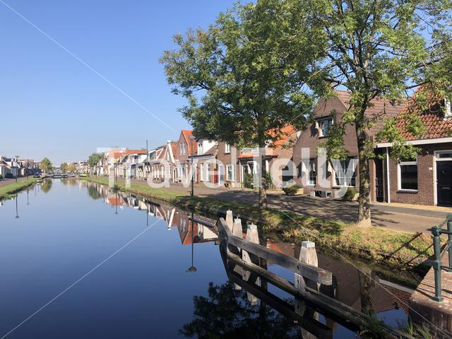 Houses next to the canal in Gorredijk Friesland The Netherlands