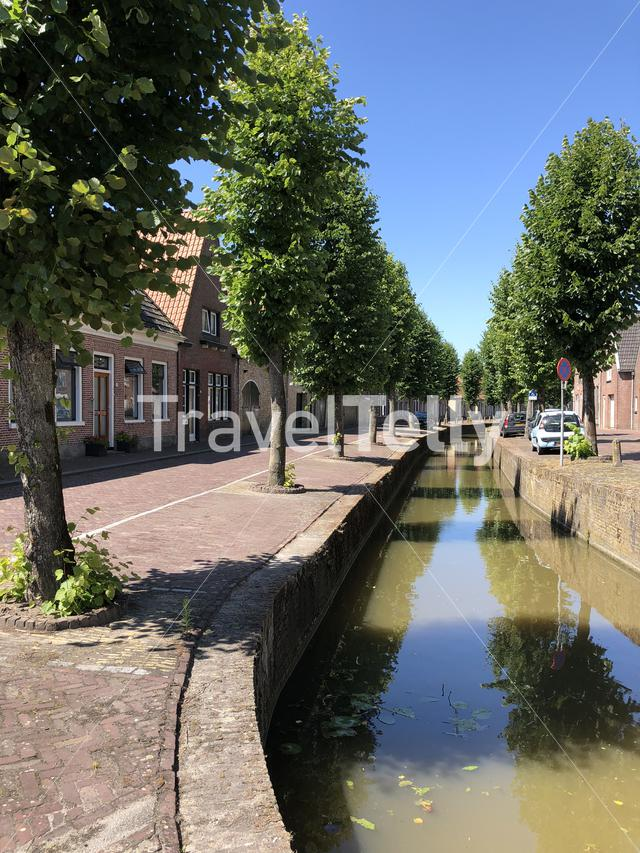 Canal in Franeker, Friesland The Netherlands