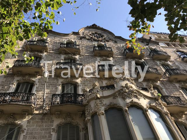 Architecture from a building at the Rambla in Barcelona, Spain