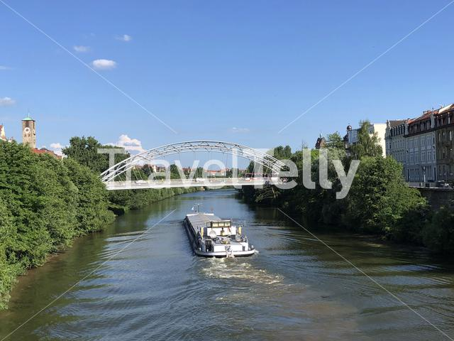 Cargo ship on the Regnitz river in Bamberg Germany