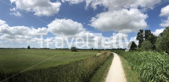 Panorama from a bicycle path towards IJlst, Friesland The Netherlands