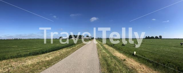 Panorama from farmland around Wyns in Friesland The Netherlands