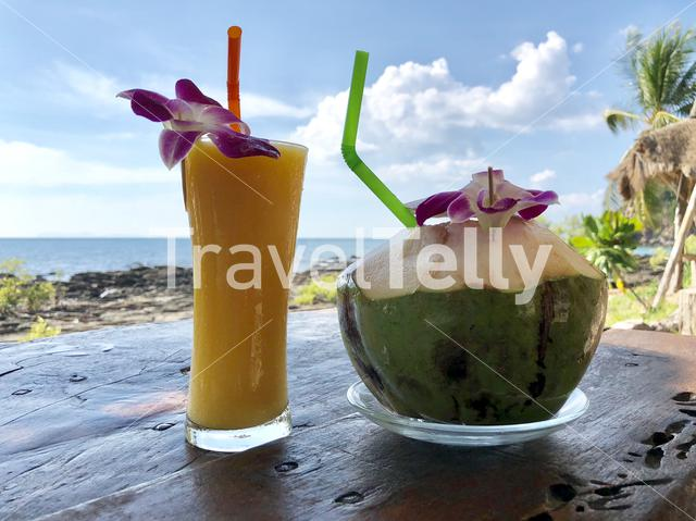 Fruit smoothies with a coconut in Koh Lanta Thailand