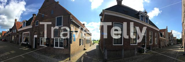 Panorama from a old street in Hindeloopen Friesland The Netherlands