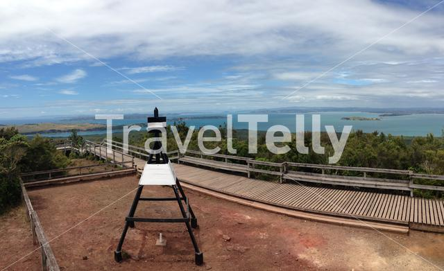 Panorama view from Rangitoto Island toward Auckland New Zealand