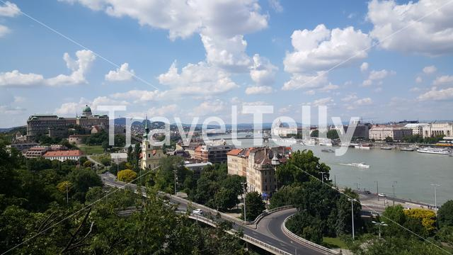 View over Budapest from the beginning of the Gellért Hill in Hungary