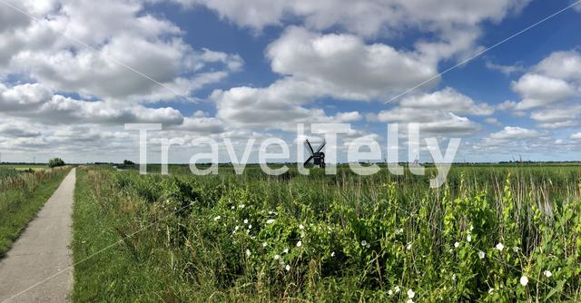 Panorama from a walk and cycle path in Friesland The Netherlands