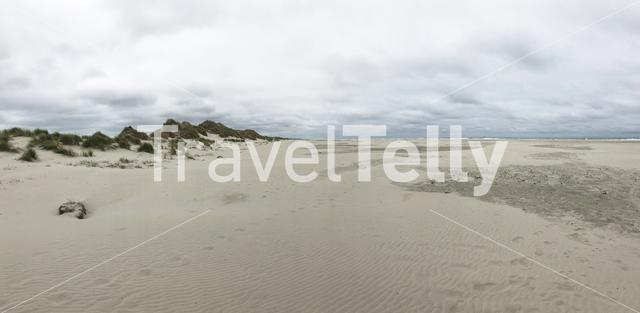 Panorama from sand dunes and the beach on Terschelling, The Netherlands