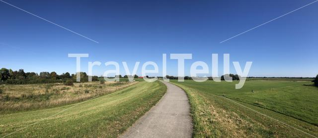 Panorama from a bicycle path around Olburgen in Gelderland, The Netherlands