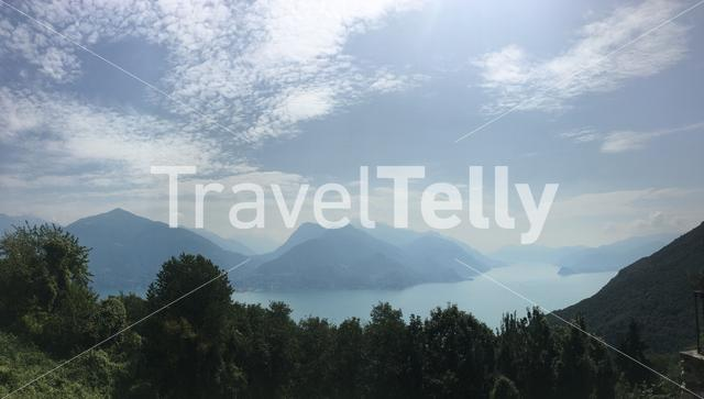 View from the mountains over the Lake Como in Italy