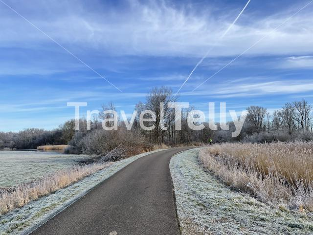 Panoramic winter landscape around the Sneekermeer a lake in Friesland The Netherlands