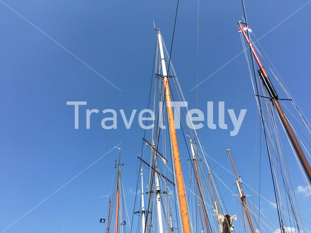 Mast from sailboats in the harbour of Lemmer, Friesland The Netherlands