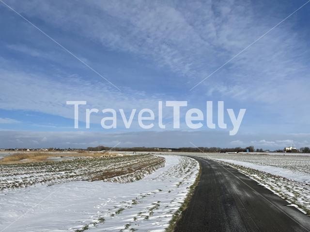 Winter landscape  and road towards Sneek in Friesland The Netherlands
