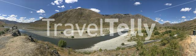 Panorama from the Acheron River in the South Island at the Barefell Awatere Valley of New Zealand