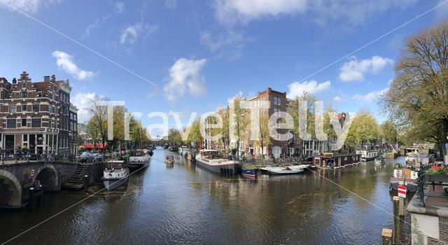 Panorama from a canal in Amsterdam, The Netherlands