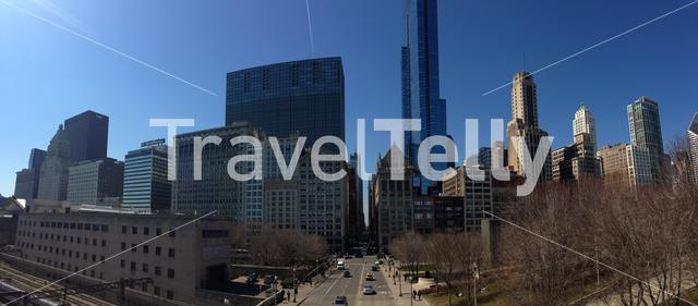 Panorama view from the Nichols Bridgeway downtown Chicago