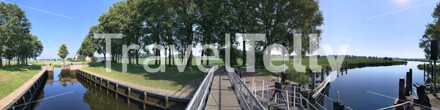 Panorama from the river lock at the Vechte in Overijssel, The Netherlands