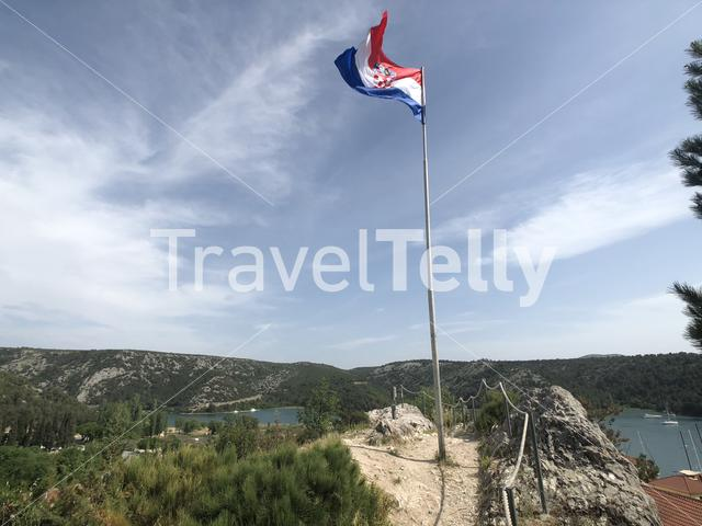 Croatian flag at the fort on the hill in Skradin Croatia