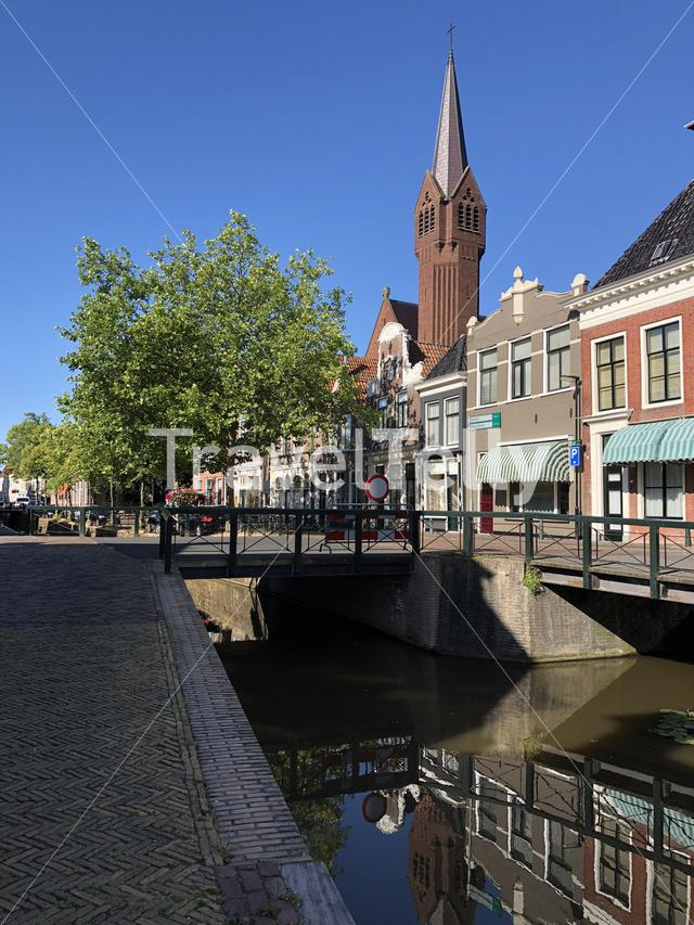 Canal in Bolsward, Friesland The Netherlands