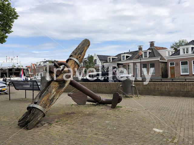 Big anchor next to a canal in Sneek, The Netherlands