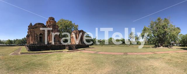 Panorama from the Khmer temple Prasat Si Khoraphum in Thailand