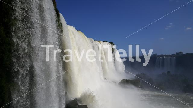 Massive wall of water at the Iguazu Falls from the Brazilian side