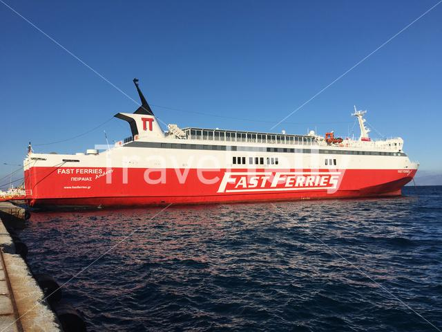 Big ferry in the harbour of Rafina in Greece