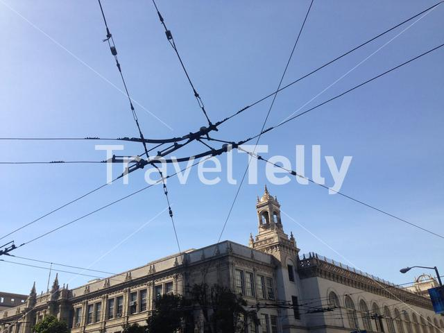 San Francisco unified school district building with electric bus cables