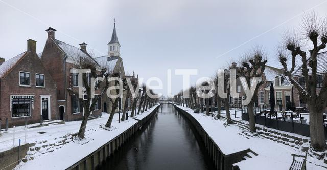 Panorama from a canal in Sloten during winter