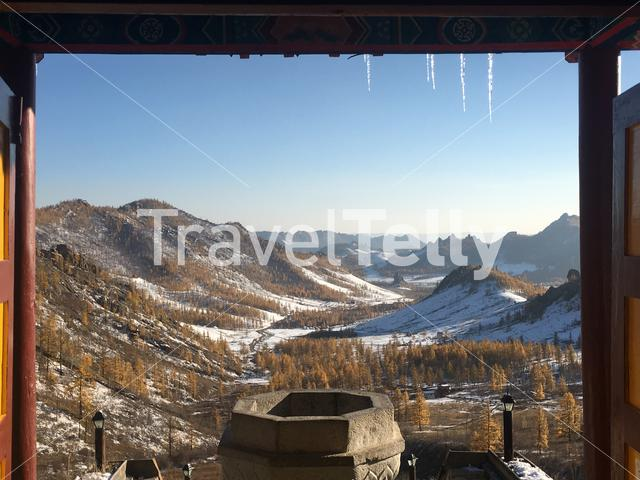 Winter landscape view from the Buddhist Monastery in Mongolia