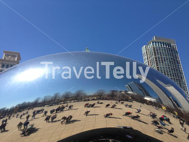 Close up from the Cloud Gate a huge outdoor sculpture shaped like a bean & allowing for views from its many mirrored sides
