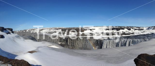 Dettifoss waterfall panorama in Iceland