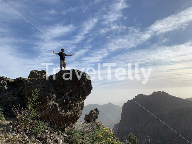 Enjoying an amazing view from Pico de las Nieves on the island of Gran Canaria