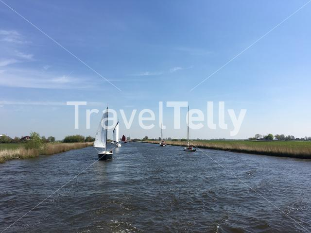 Sailboats in the Jeltesleat in Friesland The Netherlands