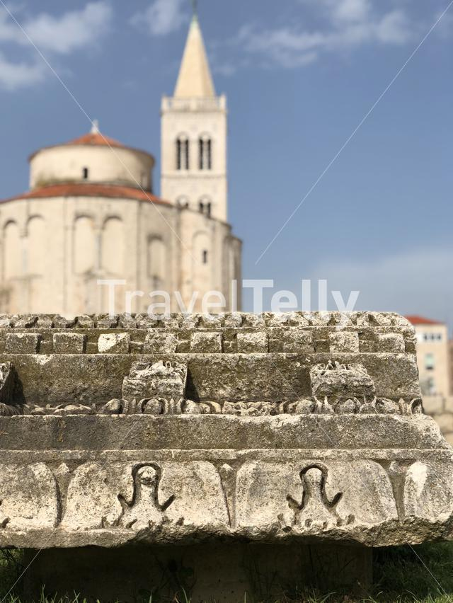 Roman Forum with the Church of St. Donatus in the background in Zadar, Croatia
