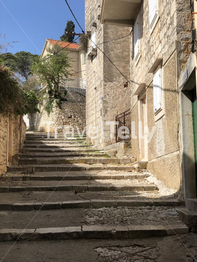 Stairs in the old town of Supetar on Brac island in Croatia
