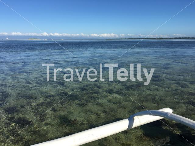 Catamaran Boat during low tide in Panglao bay Bohol the Philippines