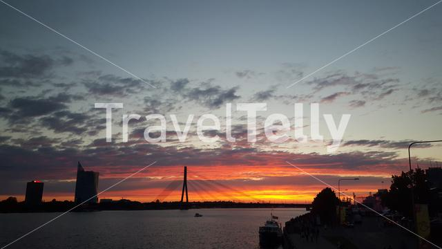 Vanšu Bridge during sunset in Riga Latvia