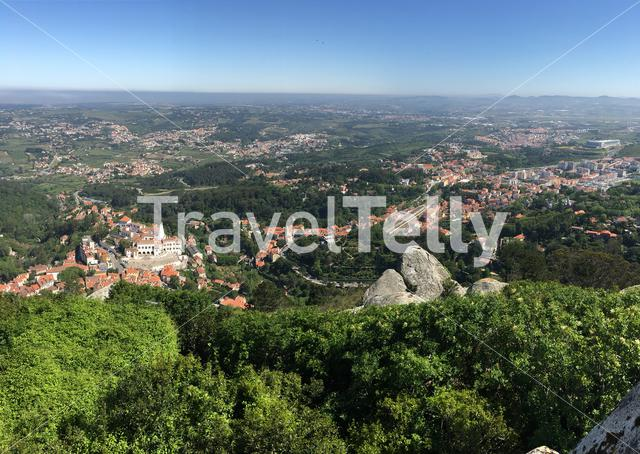 View from the Castelo dos Mouros at the Palace of Sintra in Portugal