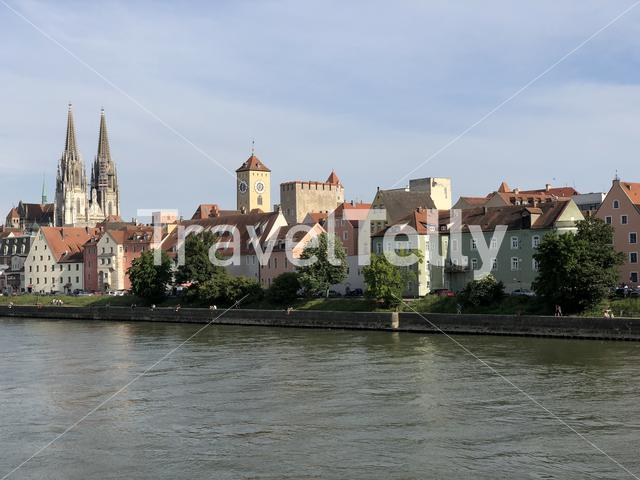 Waterfront and the danube river in Regensburg, Germany