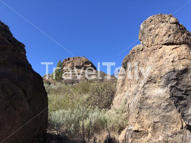 Big rocks around Las Ninas Reservoir on Gran Canaria
