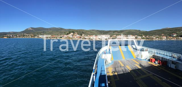 Panorama from a ferry leaving Glyfa Greece